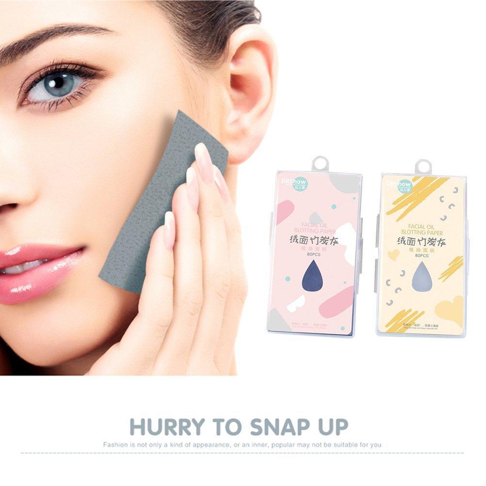 Frcolor 2 Boxen natürliche Bambuskohle Gesicht Blotting Papier Premium Gesichtsöl Blotting Paper für Männer Frauen