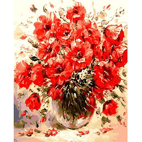 Painting By Numbers, VMAE Diy Oil Painting Paint By Number Kits, Drawing On Canvas By Hand Coloring Arts Crafts For Home Living Room Office Christmas Decoration Gifts Without Frame - Red Floral