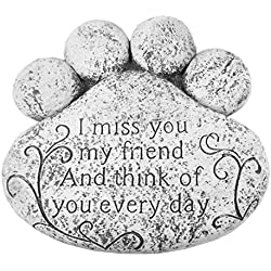 """Pet Paw Print Memorial Stepping Stone- """"Miss You Everyday"""""""