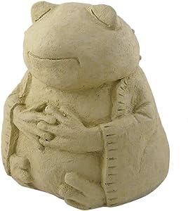 Modern Artisans Meditating Frog - Cast Stone Garden Sculpture: Large Size, Antique Stone Finish
