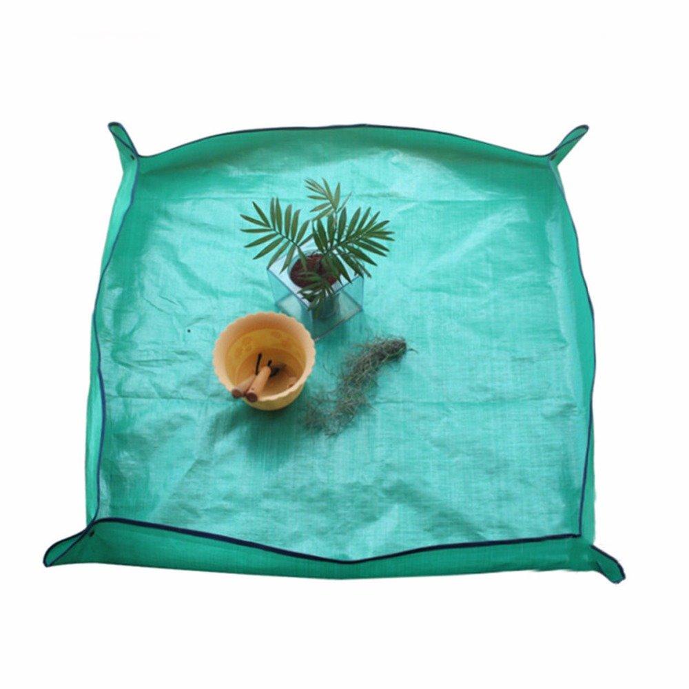 OWIKAR Plant Pot Pad, Garden Kneelers Work Cloth Waterproof Flower Transplanting Pot Flowerpot Pad Leakproof Foldable, PE Planting Operation Mat Green Plant Tools 3.3 ft x 3.3ft