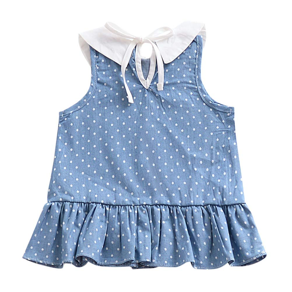 Waymine Kids Baby Girls Easter Sleeveless Ruffles Rabbit Tops+Striped Pants Set