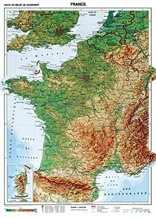 NEW XXL - 75 Inches - Physical Map of France School Version - Spring ...