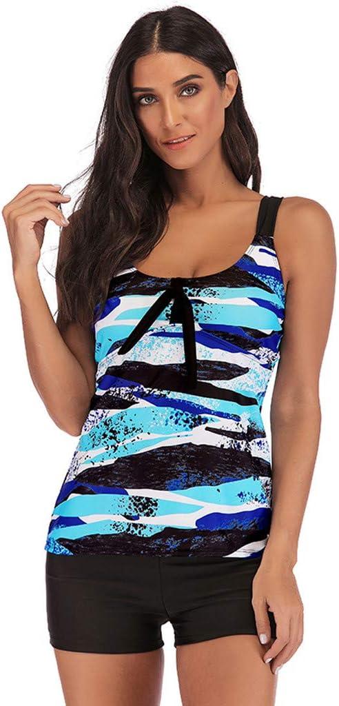 Women Tankini Sporty Bathing Suit Boyleg Short Camouflage Bikini Top Scoop Neck