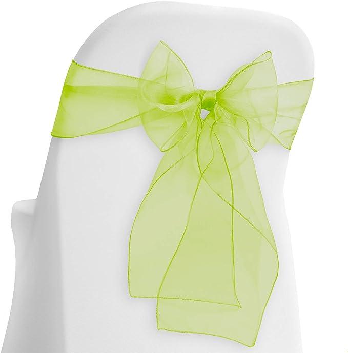 Lann's Linens - 10 Elegant Organza Wedding/Party Chair Cover Sashes/Bows - Ribbon Tie Back Sash - Sage Green