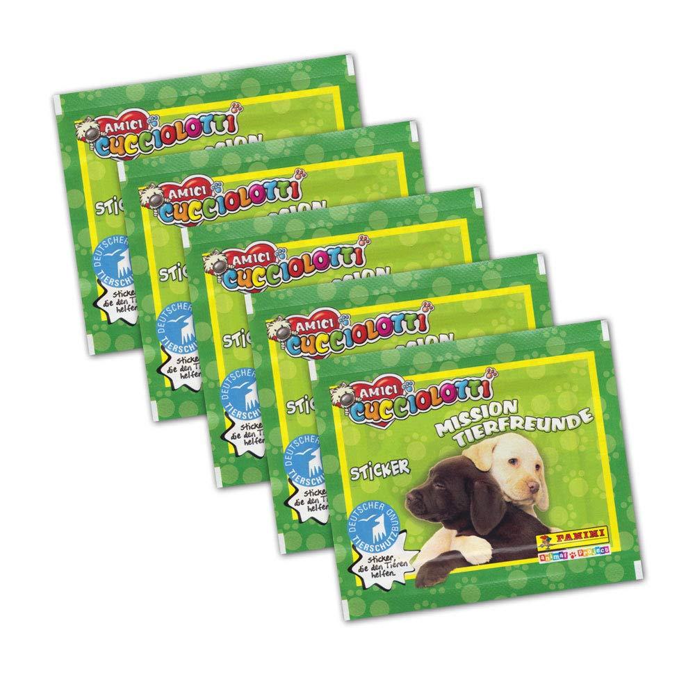 Panini–Amici cuccio Lotti Mission de Animales–5Booster Paquetes 25–Pegatinas para Pegatinas coleccionables (Edición Alemana