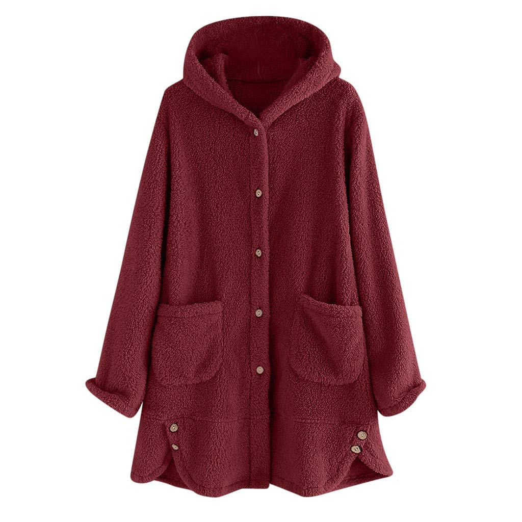 Women's Casual Hooded Coat Open Front Cardigan Jacket Fuzzy Fleece Coat Outwear Oversized with Pockets (XL, Wine Red) by Dasuy