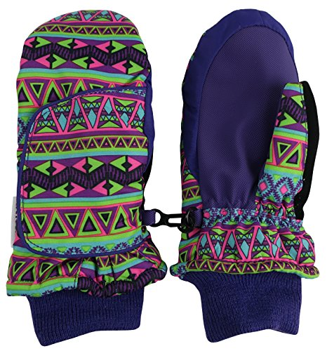 N'Ice Caps Kids Easy-On Wrap Waterproof Thinsulate Winter Snow Mitten (5-6 Years, Purple Aztec Print) (Print Winter Wrap)