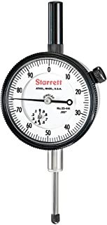 "product image for Starrett Dial Indicator, 25-441J WCSC – Lug On Center Back, Jeweled Bearings, 0-100 Reading, 0 - 1"" Range, 0.001"" Graduation, 0.375"" White Stem Dial"