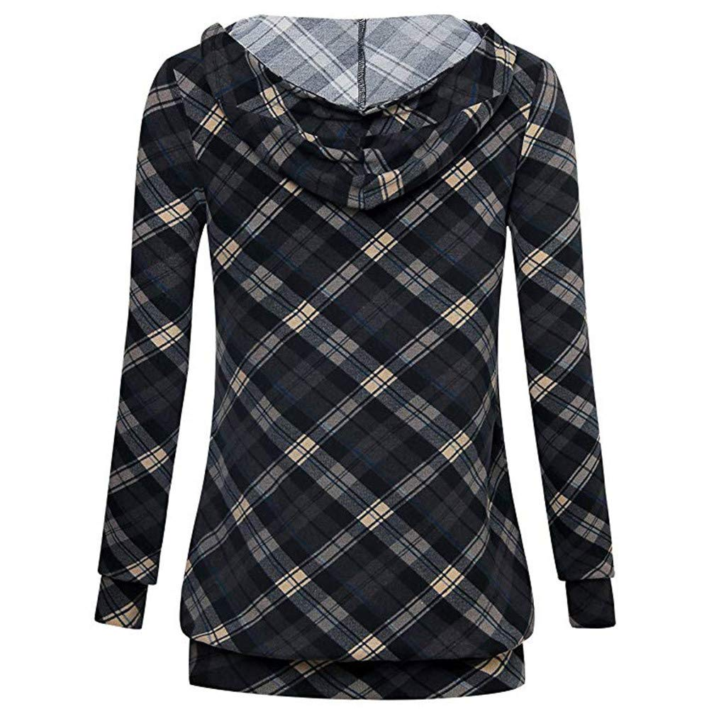 70a65e11780580 Amazon.com: Sinfu Women's Long Sleeve Shirt V Neck Pullover Plaid  Lightweight Thin Sweatshirt Hoodie with Pocket: Clothing