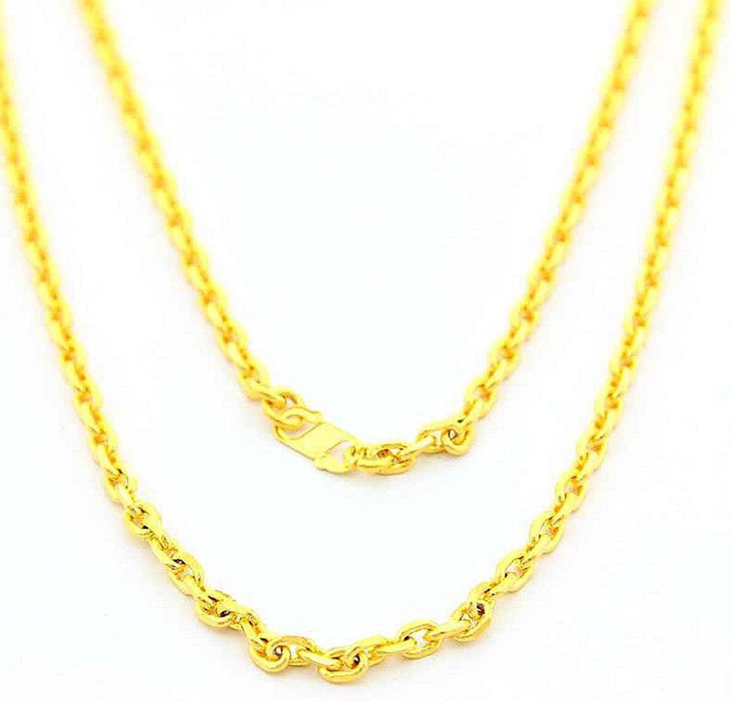 CS-DB Gold 24K Gold Plated Link Circle Chian Men Women Chains Necklace 1.5MM 18inch