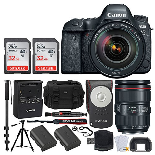 Canon EOS 6D Mark II DSLR Camera + EF 24-105mm f/4L IS II USM Lens + Canon Battery Pack LP-E6N + Canon RC-6 Wireless Remote + Vivitar DC59 Gadget Bag + 72'' Monopod + Quality Tripod – Deluxe Bundle by PHOTO4LESS