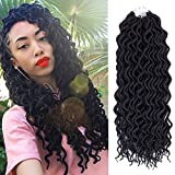 (6Packs)18inch Curly Faux Locs Soft Hair Deep Faux Locs Twist Braids Goddess Locs Crochet Braiding Hair Braids Mambo Hair Extension 24Roots/Pack (18inch, 1B#)