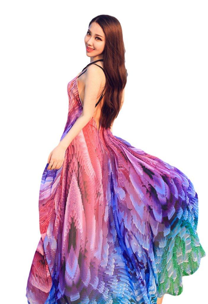 Rainbow Fuji Women's Mermaid Dress Colorful Feather Beach Dress Backless Swimming Bikini Cover up Swimwear (S)