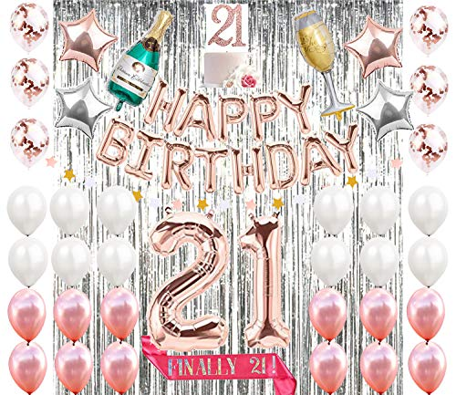 Mayen 21st Birthday Decorations|21 Birthday Party Supplies| Finally 21 Sash| 21 Cake Topper Rose Gold| Banner| Rose Gold Confetti Balloons for her| Silver Curtain Backdrop Props or Photos 21st Bday -