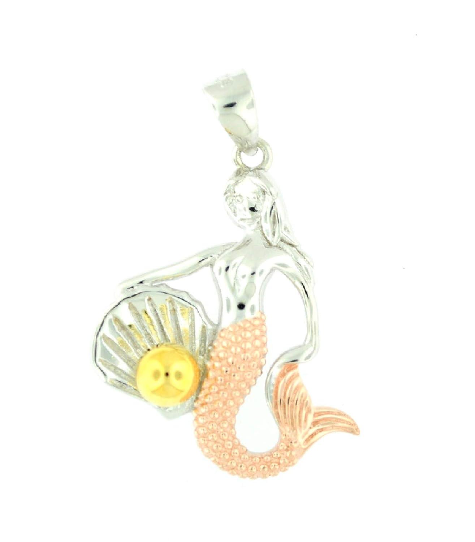 My Prime Gifts 925 Sterling Silver Mermaid Tri-Color Hawaiian Charm Medium Pendant