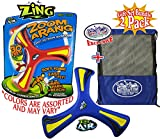 Zing Air 10'' Zoom-A-Rang Soft Outdoor Boomerangs Gift Set Party Bundle with Exclusive Matty's Toy Stop Mesh Storage Bag - 2 Pack (Assorted Colors)