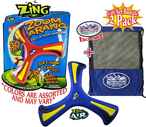 Zing Air 10'' Zoom-A-Rang Soft Outdoor Boomerangs Gift Set Party Bundle with Exclusive Matty's Toy Stop Mesh Storage Bag - 2 Pack (Assorted Colors) by Zing