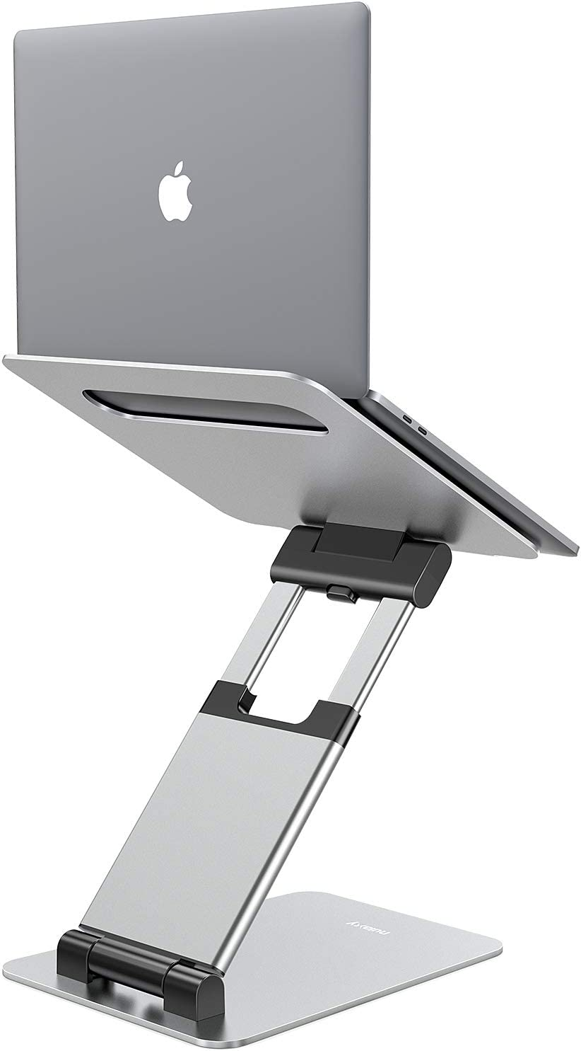 "Nulaxy Laptop Stand, Ergonomic Sit to Stand Laptop Holder Convertor, Adjustable Height from 2.1"" to 13.8"", Supports up to 22lbs, Compatible with MacBook, All Laptops Tablets 10-17"" - Silver"