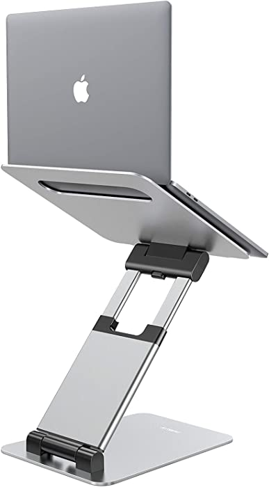 """Nulaxy Laptop Stand, Ergonomic Sit to Stand Laptop Holder Convertor, Adjustable Height from 2.1"""" to 13.8"""", Supports up to 22lbs, Compatible with MacBook, All Laptops Tablets 10-17"""" - Silver"""