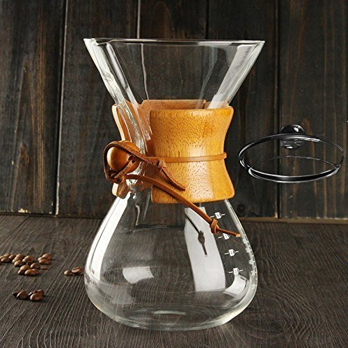 FOX PRIME 6-Cup Wood Collar Pour-Over Drip Brewer Coffee Maker Carafe with Glass Cover for Stainless Steel, Hario V60 and disposable Filters