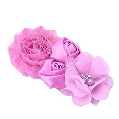 505155aa580 Best-topshop Baby Girls Lace Turban Headband with Sunflower Rose Flowers  Pearl Rhinestone Lace Hair