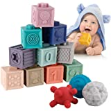 BOBXIN 15 PCS Baby Blocks Toys Soft Stacking Blocks Baby Montessori Sensory Ball Teether Infant Bath Toys Squeeze Play with N