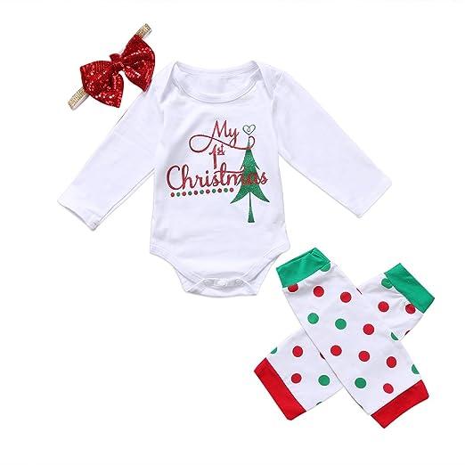 09d041270 Baby Girls Toddler 3PCS Long Sleeve Christmas Romper Bodysuit Leg Warmers  Bow Headband Infant Xmas Outfits