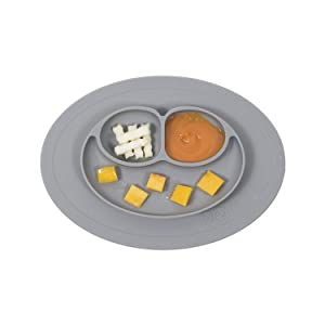 ezpz Mini Mat - One-Piece Silicone placemat + Plate (Gray)