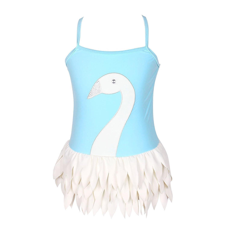 Amazon.com: qyqkfly Girls Swan Bathing Suit Adjustable 3Y-12Y One ...