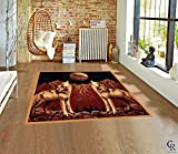 "Champion Rugs Modern Twin Howling Wolves Moon Wolf Pack Novelty Animal Carpet Area Rug (5' 3"" X 7' 5"")"