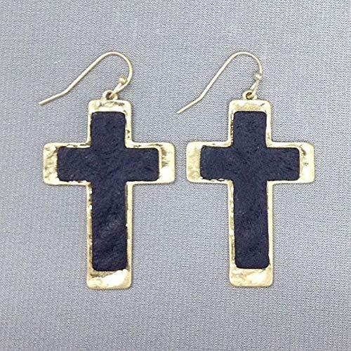 Bohemian Style Hammered Gold Black Finish Double Cross Pendant Hook Earrings LL-1368