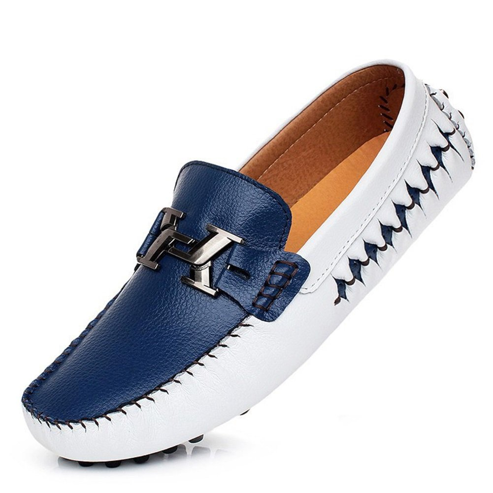HUAN Nouveau Hommes Mocassins Décontractés Mocassins en Cuir Slip Sur Conduite Chaussures Blanc Bleu, Noir, Doré Doré (Color : A Taille : 40)