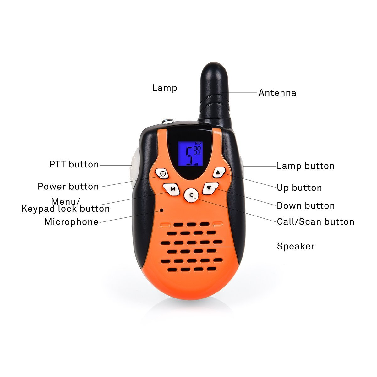Swiftion Walkie Talkies for Kids Walkie Talkies for Child with Charger Batteries 22 Channel Walky Talky 0.5W FRS/GMRS Long Range 2 Way Radios (Orange, Pack of 2) by Swiftion (Image #2)