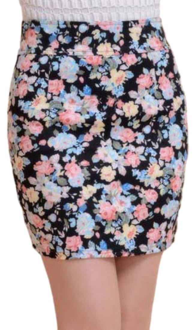 Pandapang Women Vogue Floral Print Bodycon Slim Fit One Step Pencil Mini Skirt Black M