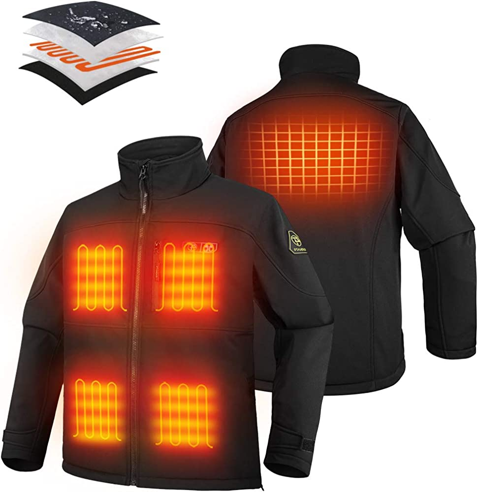 PTAHDUS Mens Heated Soft Shell Vest with 7.4V Battery Pack