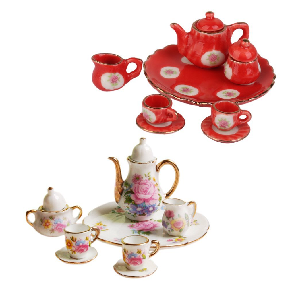 3 Pcs Dining Ware Tea Set Dollhouse Miniatures Hand Paint Red Rose