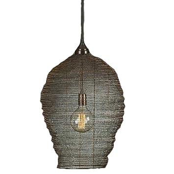 Hängelampe Metallgeflecht Lampe Hochwertige Harlem Netz Dekolampe Große Edel Deckenlampe Korb Schwarz Bada Bing uZikOXP