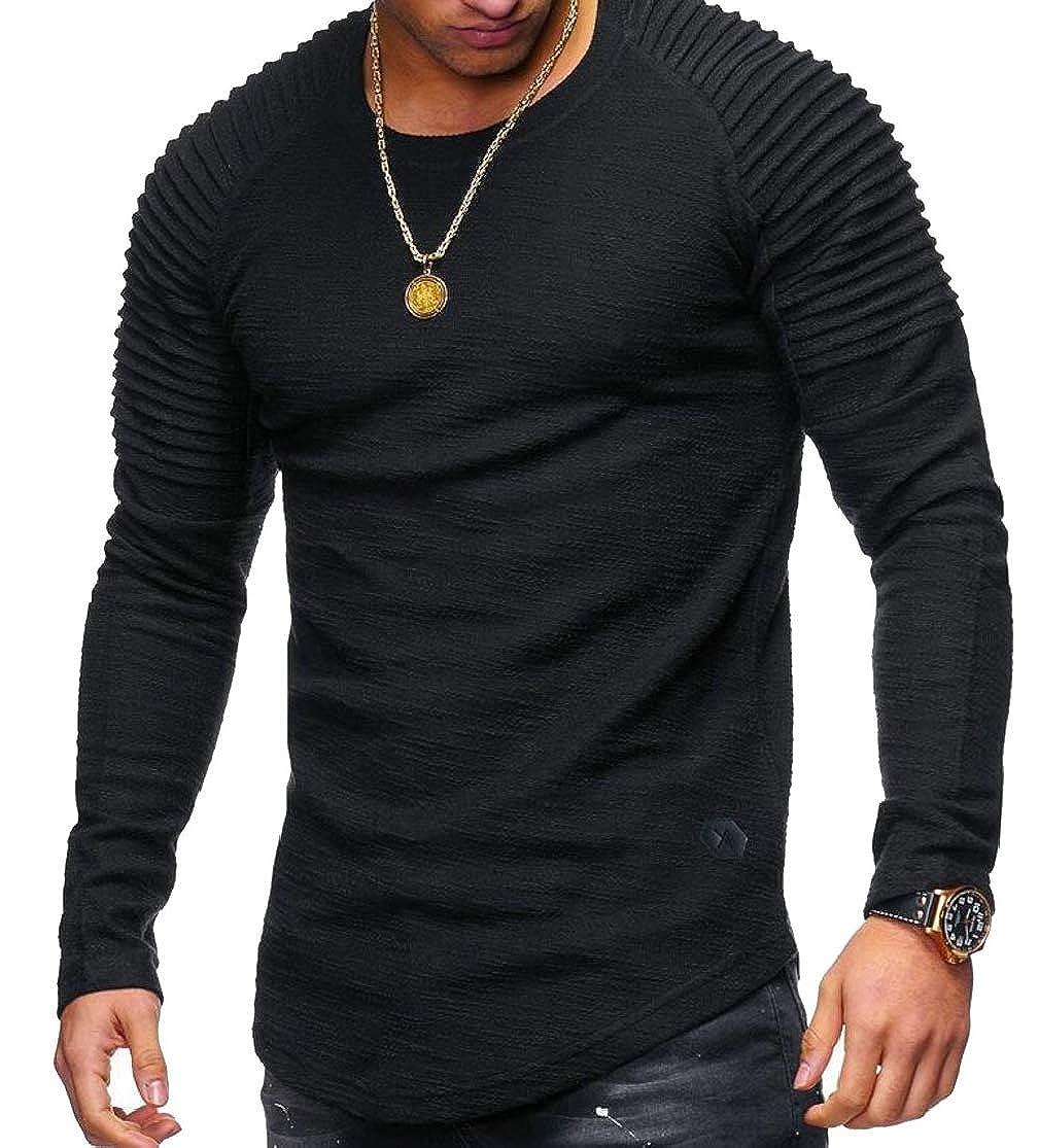 Joe Wenko Mens Striped Curved Hem Basic Raglan Sleeve Ruched Top Tee T-Shirts