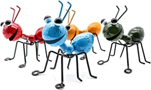 ANING 4pcs Metal Craft Ant Yard Decor Art Metal Sculpture Garden Ant Decoration Hanging Wall Garden Lawn Decoration Indoor and Outdoor Colorful and Loving Insects Sculptures