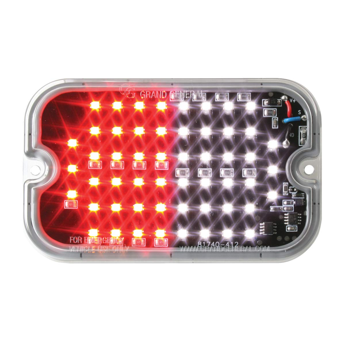 GG Grand General 81763 Red & White/Clear LED Light (Rectangle Red/White Multi-Strobe 54-, 15 Flash Pattern)