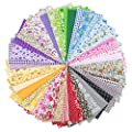 """Foraineam 50 Pieces Assorted Cotton Craft Fabric Bundle 8"""" x 8"""" (20cm x 20cm) Printed Patchwork Squares for DIY Sewing Quilting Scrapbooking"""