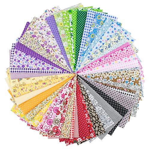 Foraineam 50 Pieces Assorted Cotton Craft Fabric Bundle 8