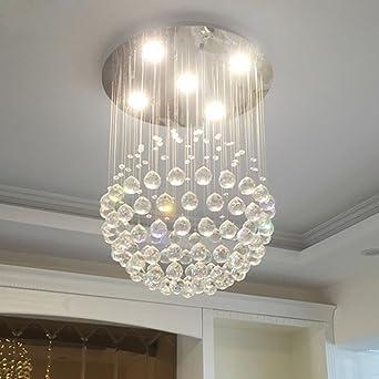QHMC LED Kristall Kronleuchter, Moderne Wohnzimmer Wohnzimmer Leuchter,  Einfache Kugel Restaurant