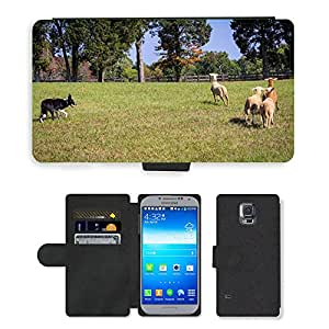 Super Stella Cell Phone Card Slot PU Leather Wallet Case // M00107030 Border Collie Sheep Herding Working // Samsung Galaxy S5 S V SV i9600 (Not Fits S5 ACTIVE)