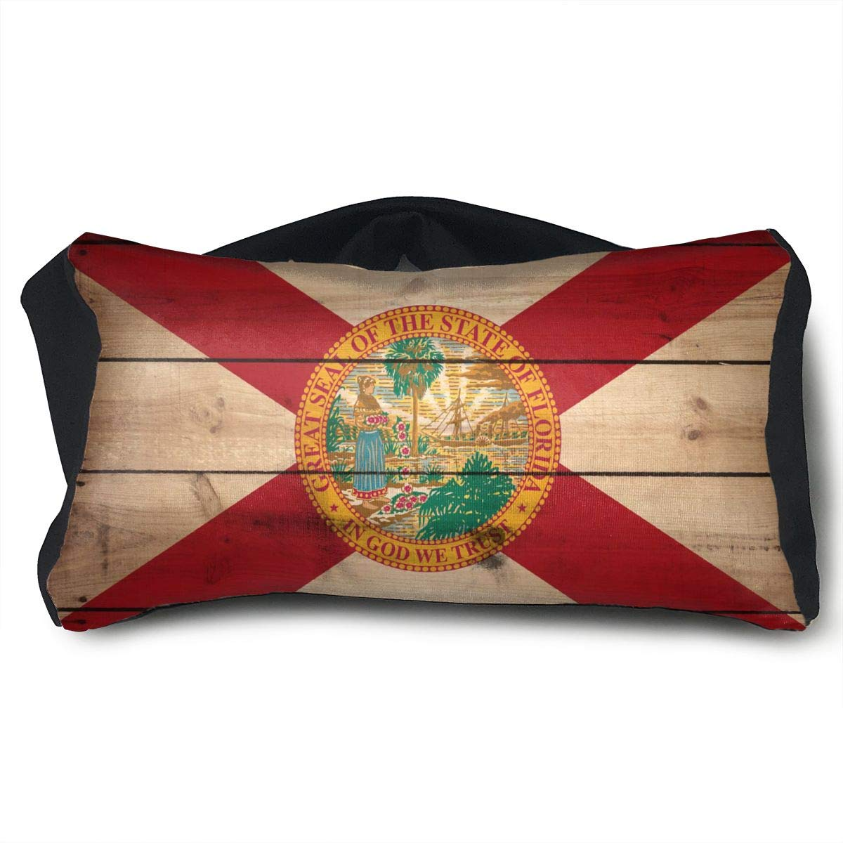 GLing-LIFE Florida State Flag Wood Texture Portable Voyage Pillow Travel Pillow and Eye Mask 2 in 1 Neck Head Support for Airplanes, Cars, Office Naps, Camping, Trains