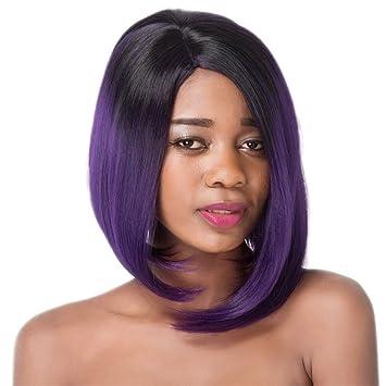 Amazoncom Women Wigs Deep Purple Ombre Gradient Ramp Womens