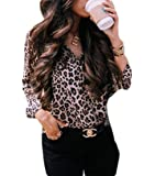 UUYUK Women Casual Long Sleeve Leopard Print Button Down V-Neck Shirts Tops Blouse