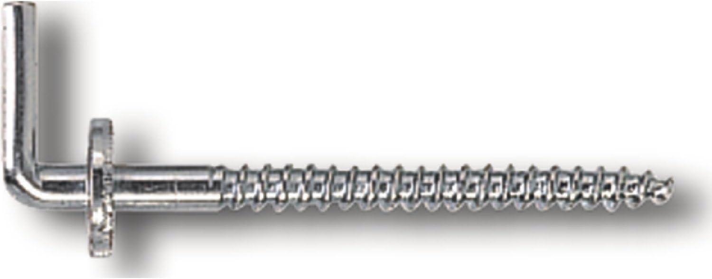 Schraubhaken mit Holzgewinde gebogen - aus Edelstahl A2 V2A W/äscheleinenhaken 1 St/ück SC-Normteile/® - Wandhaken SC9080 rostfrei - 4,4 x 65 mm - Gewindel/änge: 18 mm