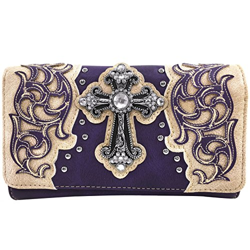 (Justin West Western Floral Wing Embroidery Laser Cut Rhinestone Silver Cross Studded Shoulder Tote Handbag Purse Wallet (Purple Wallet))